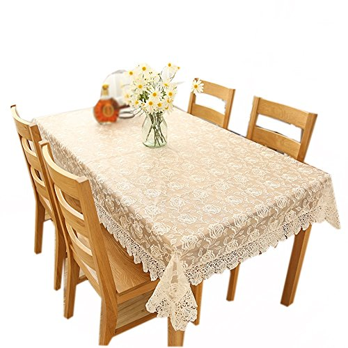 Peony Lace (Red Peony Pattern Lace Rectangular Tablecloth ( Color : White , Size : 9090cm ))