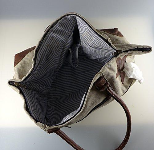 Handtasche, Umhängetasche, Schultertasche, Tasche aus Militärzelt und Leder - durch Reißverschluss verschließbar