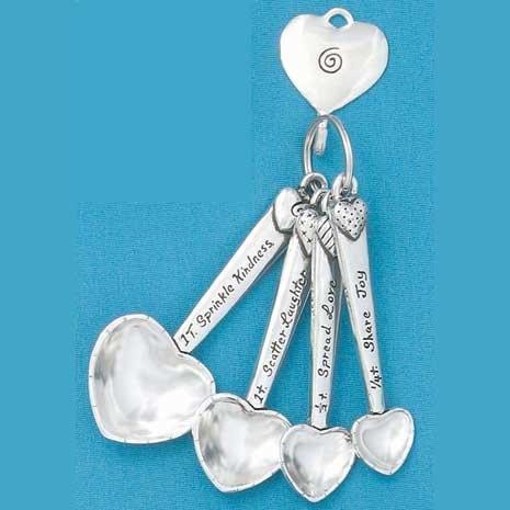 Pewter Heart Measuring Spoons w/ Hook (Pewter Measuring Spoon)