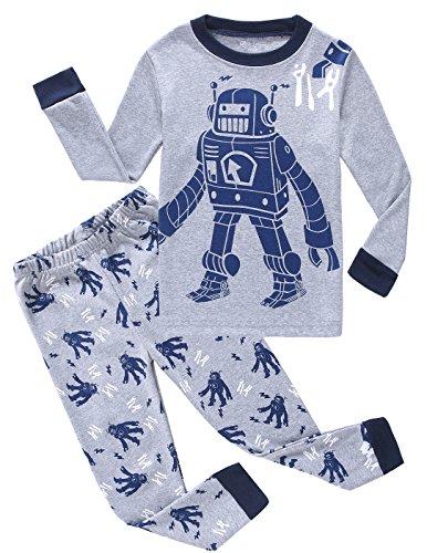 Boys-Pajamas-Robot-100-Cotton-Toddler-Pjs-Kids-Sleepwear-Clothes-Pant-Set