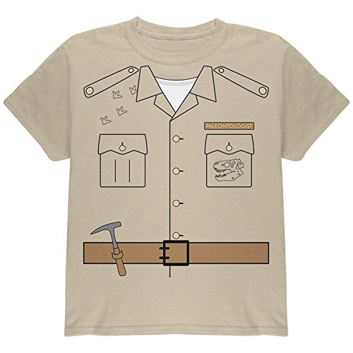 Halloween Paleontologist Dinosaur Hunter Costume Youth T Shirt Sand (Paleontologist Costumes)