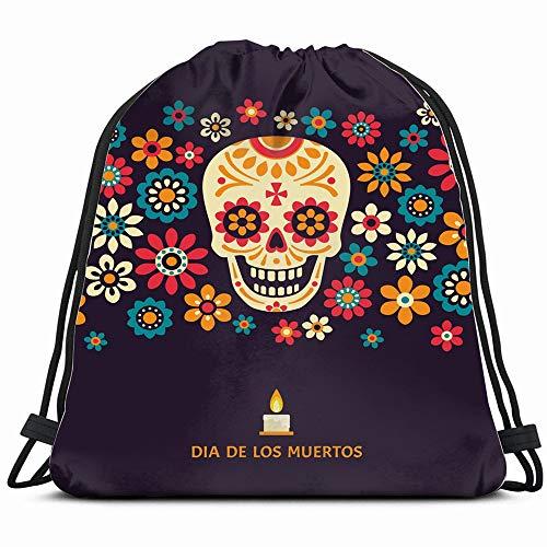 Dia De Los Muertos Day Dead Holidays Drawstring Bag Backpack Gym Dance Bag Reversible Flip Sequin Bling Backpack For Hiking Beach Travel Bags -