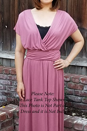 BellaTi Roman Dress Crossover Double Layered with Sleeve Neck V Front Short Spandex Maxi Front Solid Mauve Rayon rrAxwFqO