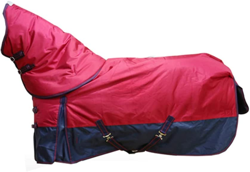 XLYAN Caballo Manta Cuello Desmontable 2520d Impermeable Y Transpirable Tela Oxford Cálido Invierno Cálido Chaleco, Rojo,Red7XL