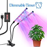 LED Grow Light with Timer, Grow Lights for Indoor Plants, Dual Heads 2 Dimmable Grow Lamp Bulbs & Goose-neck Adjustable Grow Light with Timing Function for Greenhouse Plants