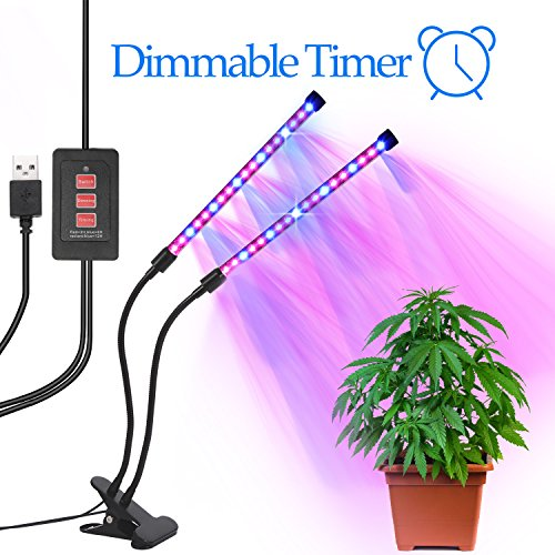 Grow Light Timer (LED Grow Light with Timer, Grow Lights for Indoor Plants, Dual Heads 2 Dimmable Grow Lamp Bulbs & Goose-neck Adjustable Grow Light with Timing Function for Greenhouse Plants)