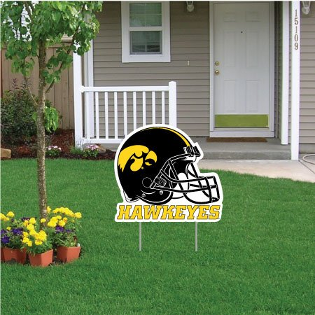 "VictoryStore Yard Sign Outdoor Lawn Decorations - University of Iowa Football Helmet Yard Sign - 24"" W X 24"" H, with Two Stakes"