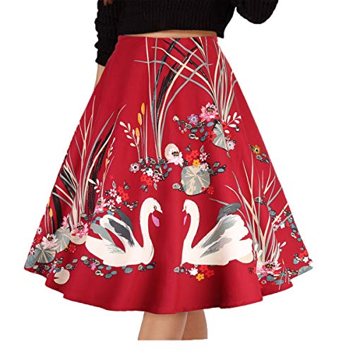 Musever Women's Pleated Vintage Skirts Floral Print Casual Midi Skirt Red Swan M
