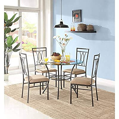 MSS 5-Piece Glass and Metal Dining Set, Includes table and 4 chairs, Solid metal tubing, Easy assembly, Upholstered seat cushions, Comfortably seats four people with 42 inch round table surface. -  - kitchen-dining-room-furniture, kitchen-dining-room, dining-sets - 51yCCiq0SkL. SS400  -