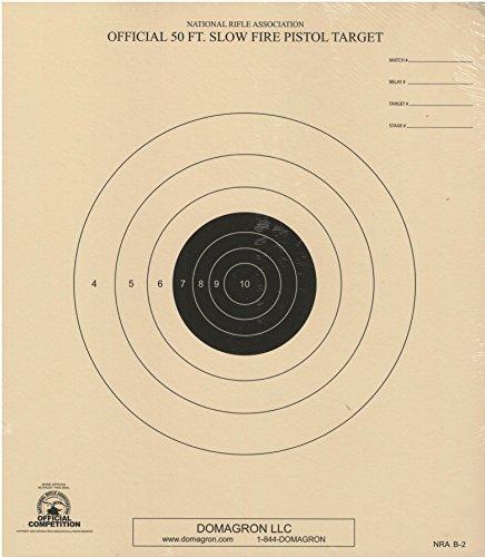DOMAGRON 50 Foot Slow Fire Pistol Target Official NRA Target B-2 (100 Pack) (Nra B2 Target)