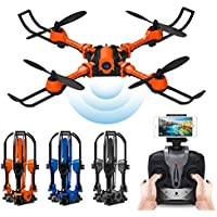 PinPle Drone Foldable RC Quadcopter RTF 2.4G 4CH 6 Axis Gyro Quadcopter with WiFi FPV 0.3MP Camera - Altitude Hold & App Control (Orange)