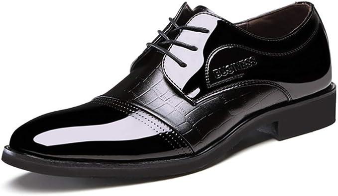 XIGUAFR Chaussure en Cuir Habillée Pointue de Costume de