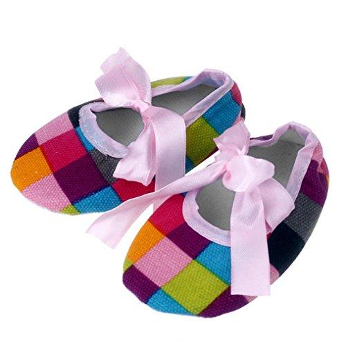 Saingace Filles Bébé Bowknot Colorées Treillis Impression Tissu Chaussures (11(11cm))