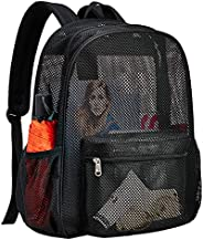 Heavy Duty Semi-Transparent Mesh Backpack, See Through College Student Backpack with Padded Shoulder Straps fo