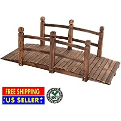 Produit Royal 5' Wooden Bridge Solid Fir with Stained Finish Wood Garden Pond Arch Outdoor Walkway Path Structure Backyard Plank Garden Decorative Yard Landscape New