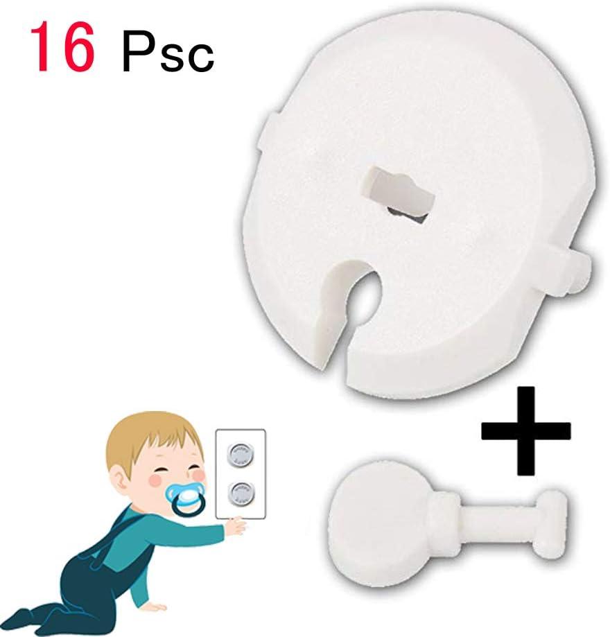12psc+4psc Cache/Prise B/éb/é Kit de S/écurit/é pour Prot/éger B/éb/és Enfant Anti Choc Electrique 12 PSC Couvercle de la Prise de Courant avec 4 PSC de cl/és
