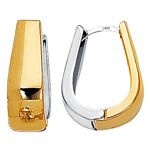14k 2 Tone Gold Snuggable Huggie Reversible Earrings ()