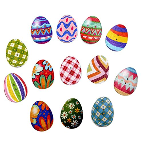 Coohole 100 PCs Mixed Colorful Retro Wooden Buttons Painting Easter Eggs 2Hole Fit Sewing DIY Craft (100pcs, Multicolor)