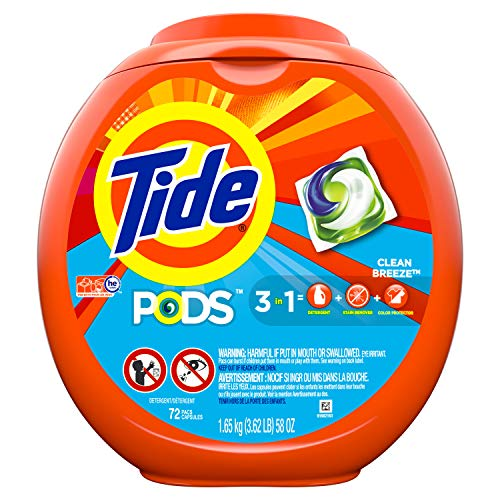 Tide PODS Liquid Laundry Detergent Pacs, Clean Breeze, 72 count (Packaging May Vary)