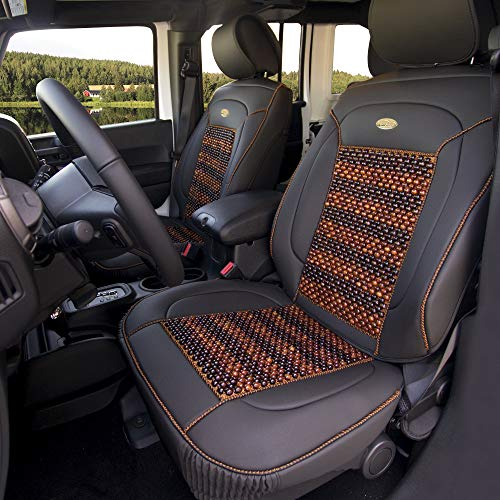 FH Group PU203BLACK102 Premium Leather Cushion Pad Seat Covers Black Color w....