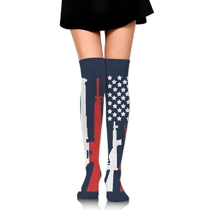 a2927d882 Amazon.com  XNGTAX Thigh High Socks American Flag With Machine Guns ...