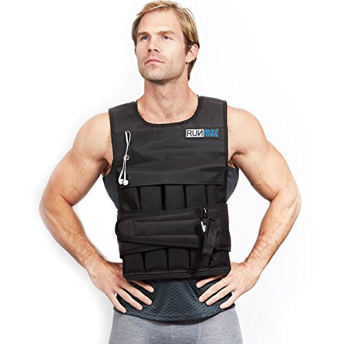 RUNFast Pro Weighted Vest 12lbs-60lbs (with Shoulder Pads, 40 LB) (Running Mens Vest)