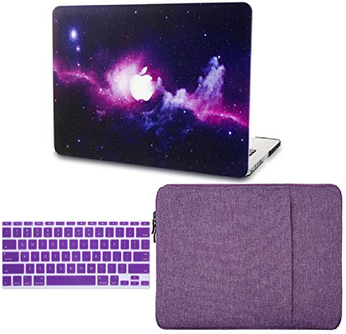 """KECC Laptop Case for MacBook Air 13"""" w/Keyboard Cover + Sleeve Plastic Hard Shell Case A1466/A1369 (Purple)"""