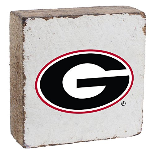 Rustic Marlin NCAA Georgia Bulldogs Rustic Block with Team Logo, White, 6