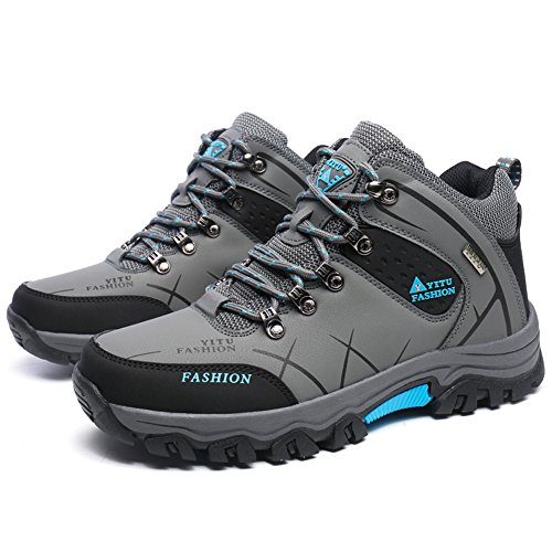 GOMNEAR Men's Hiking Boots High Top Trekking Shoes Ankle Support Non Slip Breathable Walking Climbing Sneakers,Grey-43