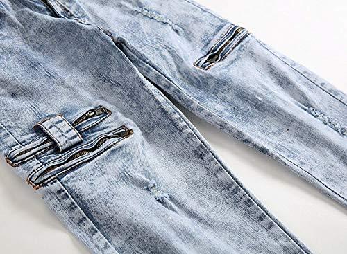 Taglio Medio Bassa Eleganti Vita Uomo Da Di Slim A Pantaloni Moda Vintage Giovane Dritto Jeans Blu wfq01ExYES