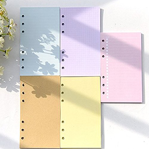 Loghot 5 Sets Assorted Colors Refills Inserts Filler Paper Pages for 6-Holes Notebook, 40 Sheets/Set (A6) (5x8 Calendar Insert compare prices)