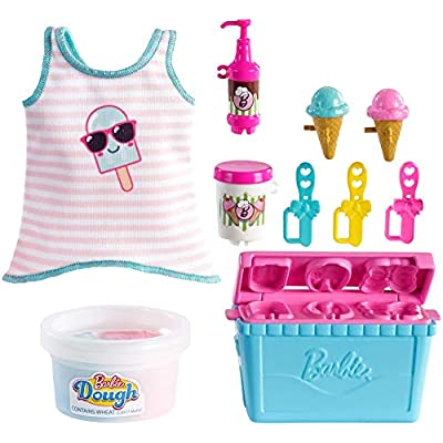 Barbie Cooking & Baking Accessory Pack with Ice Cream-Themed Pieces, Including Tank Top for Doll, Cooler Mold & Container of Molded Dough, Ages 4 Years Old & Up, Multi: Toys & Games
