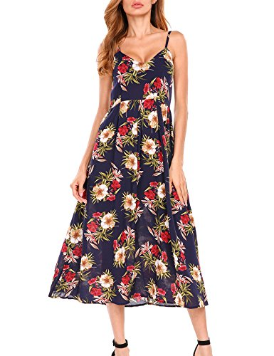 Beyove Women Floral Spaghetti Strap Boho Slim Maxi Dress