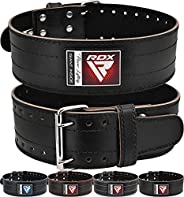 """RDX Weight Lifting Powerlifting Belt, 6mm Thick Genuine Cowhide Leather, 4"""" Back Lumbar Support, 12 Adjustable"""