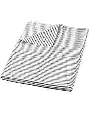 HBlife Cotton Duvet Cover for Weighted Blanket (48''x72'' Twin Size) | Removable | 16 Ties | Black Striped