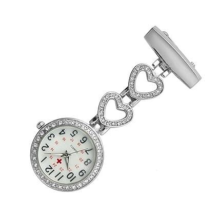 longqi Reloj Enfermera Acero Full Crystal Cuarzo Reloj médico Enfermera Crystal Rhinestone Colgante Ladies Relojes