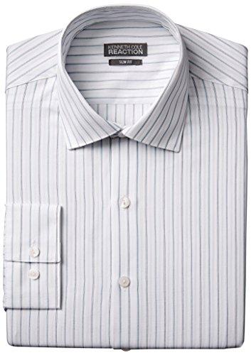 Kenneth Cole Reaction Men's Slim Fit Textured Stripe, Kiwi, 16 34/35