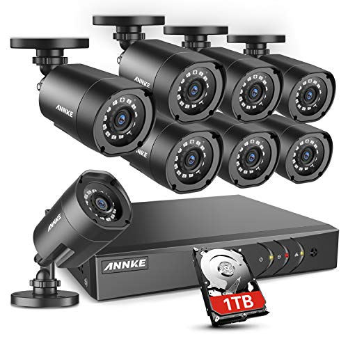 - ANNKE Home Security Camera System 8 Channel 1080P Lite DVR and 8X 1080P HD Outdoor IP66 Weatherproof CCTV Cameras, Smart Playback, Instant Email Alert with Images, 1TB Hard Drive Included