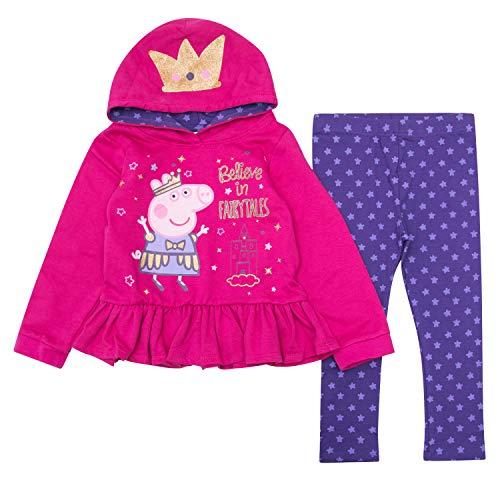 Peppa Pig Girls Jogger Set Hoodie & Sweatpants Set (Pink/Navy, 2T) -