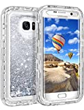 Galaxy S7 Edge Case, Coolden Heavy Duty Samsung S7 Edge Protective Case Floating Bling Glitter Sparkle Shiny Quicksand Liquid Clear Bumper Shockproof Case Cover for Samsung Galaxy S7 Edge (Silver)