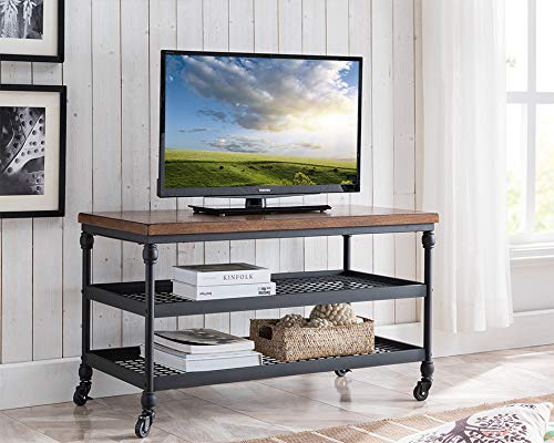 One Source Living Covington TV Cart with a Charging Station and Metal Shelves in Canyon Oak