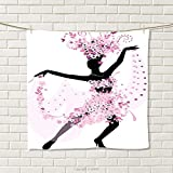 smallbeefly Latin Hand Towel Silhouette of a Woman Dancing Samba Salsa Latin Dances Spain and Mexico Culture Print Quick-Dry Towels Pink Black Size: W 20'' x L 21''