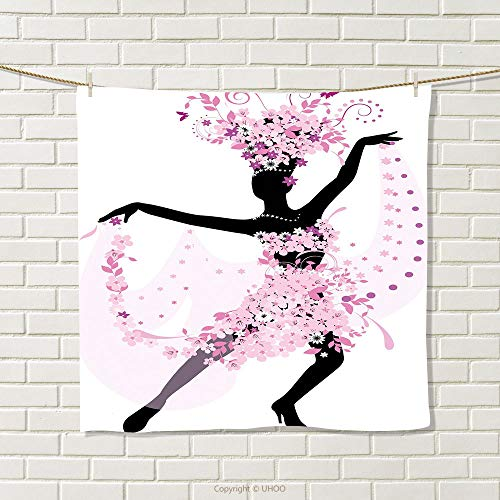 smallbeefly Latin Hand Towel Silhouette of a Woman Dancing Samba Salsa Latin Dances Spain and Mexico Culture Print Quick-Dry Towels Pink Black Size: W 20'' x L 21'' by smallbeefly