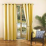 Sun Zero Dorie Striped Indoor Outdoor UPF 50+ Curtain Patio Panel, 52″ x 95″, Yellow