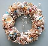 Beach Decor Seashell Wreath - Nautical Shell Wreath in Natural Colors w Sea Glass
