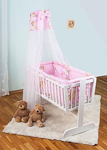 7 Pcs Crib Bedding Set with All-Round Bumper 90x40 cm Plain Blue Canopy /& Bow