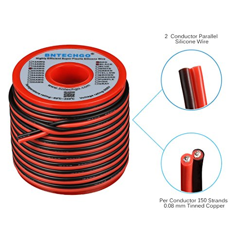 Parallel Bonded Wire (BNTECHGO 18 Gauge Flexible 2 Conductor Parallel Silicone Wire Spool Red Black High Resistant 200 deg C 600V for Single Color LED Strip Extension Cable Cord,model,lead wire 50ft Stranded Copper Wire)