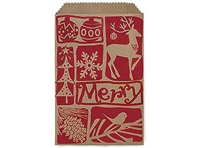 "6-1/4x9-1/4"" Woodcut ChristmasPaper Merchandise Bags 35lb (1 unit, 500 pack per unit.)"