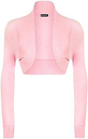 903b8553ad9 RM Fashions Women s Plain Shrug Long Sleeve Ladies Cotton Bolero Top - Light  Pink - ML