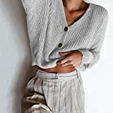 YANG-YI Womens Tops Clearance Knitted Solid Long Sleeve Cardigan Button Tops Loose Sweater Coat